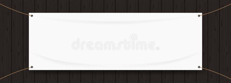 乙烯基横幅在黑木框架隔绝的空白白色,织物的白色嘲笑空为横幅广告立场垂悬 向量例证