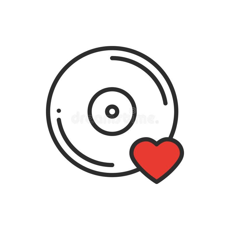 乙烯基线象 喜爱的歌曲 唱片迪斯科舞蹈夜生活俱乐部DJ盘党题材 标志和标志 向量 向量例证