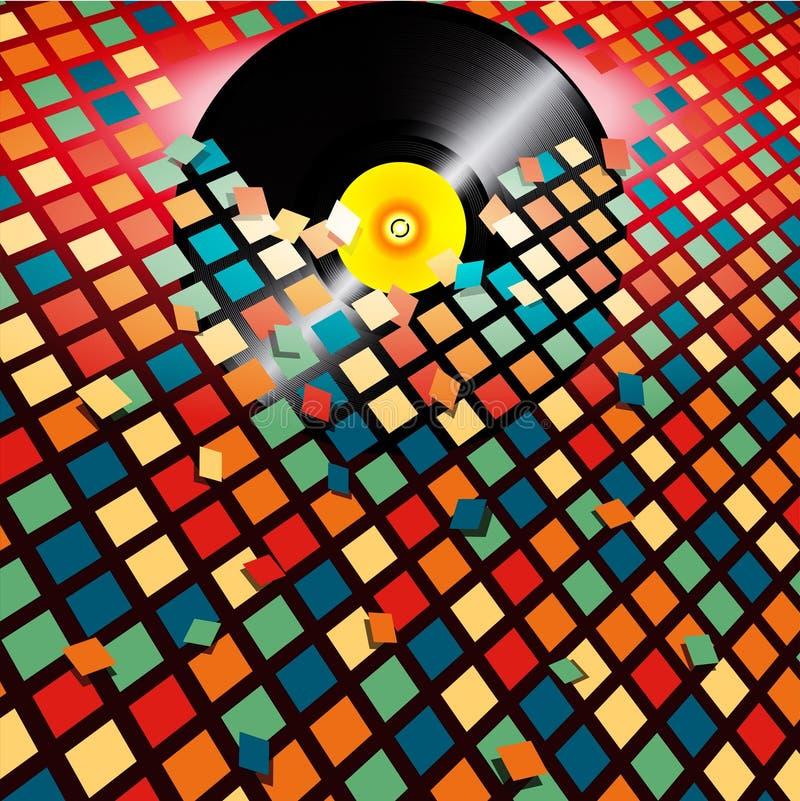 乙烯基破纪录的色的瓦片背景 向量例证