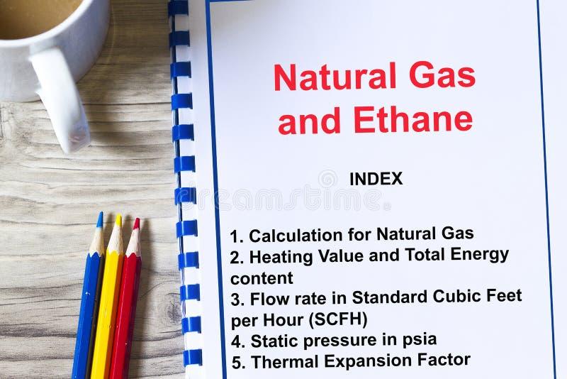 乙烷和天然气演算和演讲概念 免版税库存照片