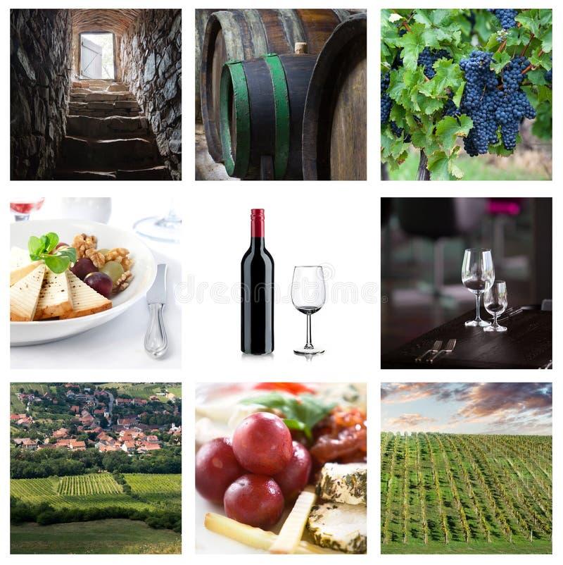 九与酒和食物styllife的题材 免版税库存图片