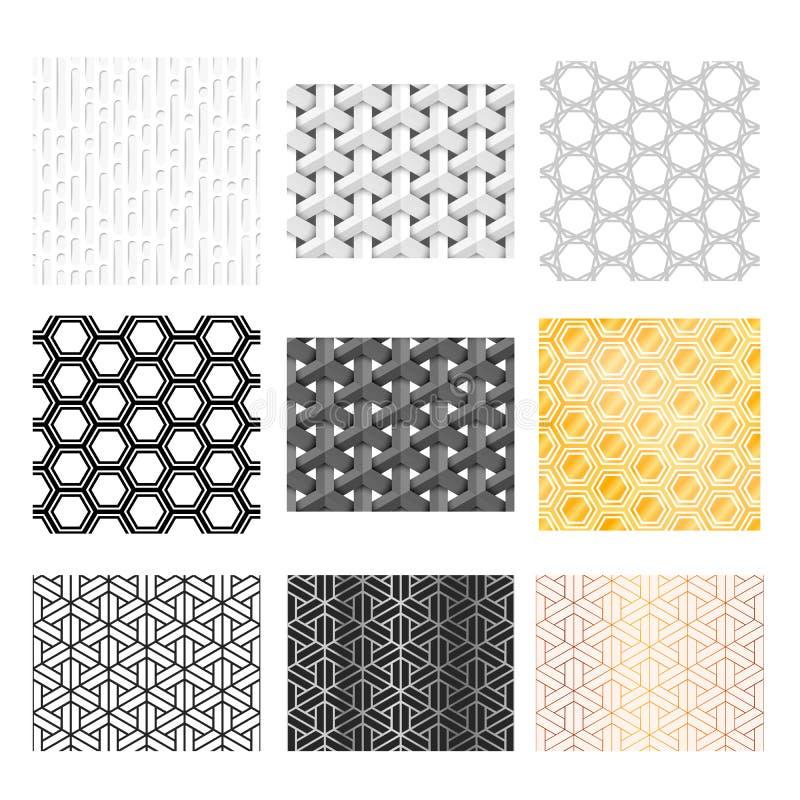 九个不同抽象几何样式 皇族释放例证