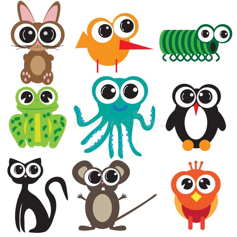 九个平的设计动物 皇族释放例证