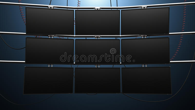 九个盘区录影显示器墙壁 库存例证