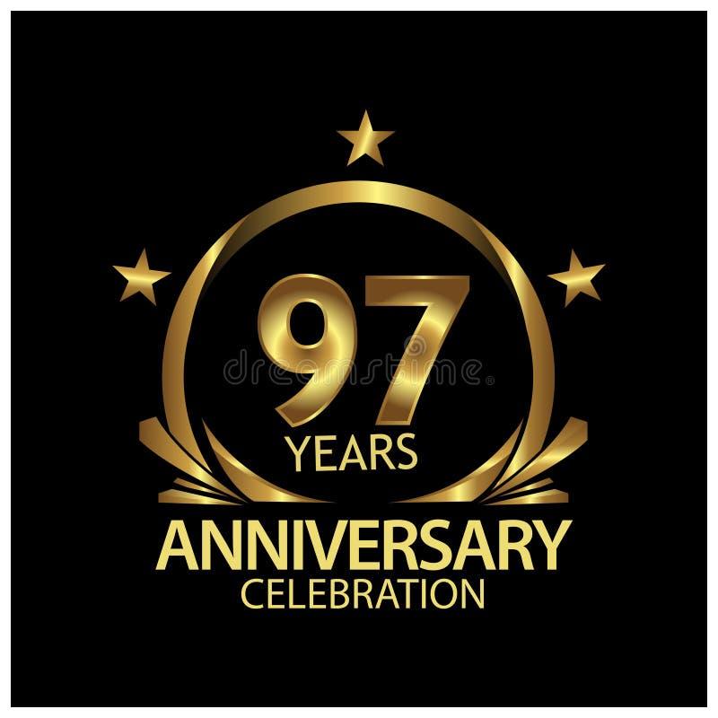 九十七七年金黄的周年 周年网的,比赛,创造性的海报,小册子,传单,飞行物模板设计, 皇族释放例证