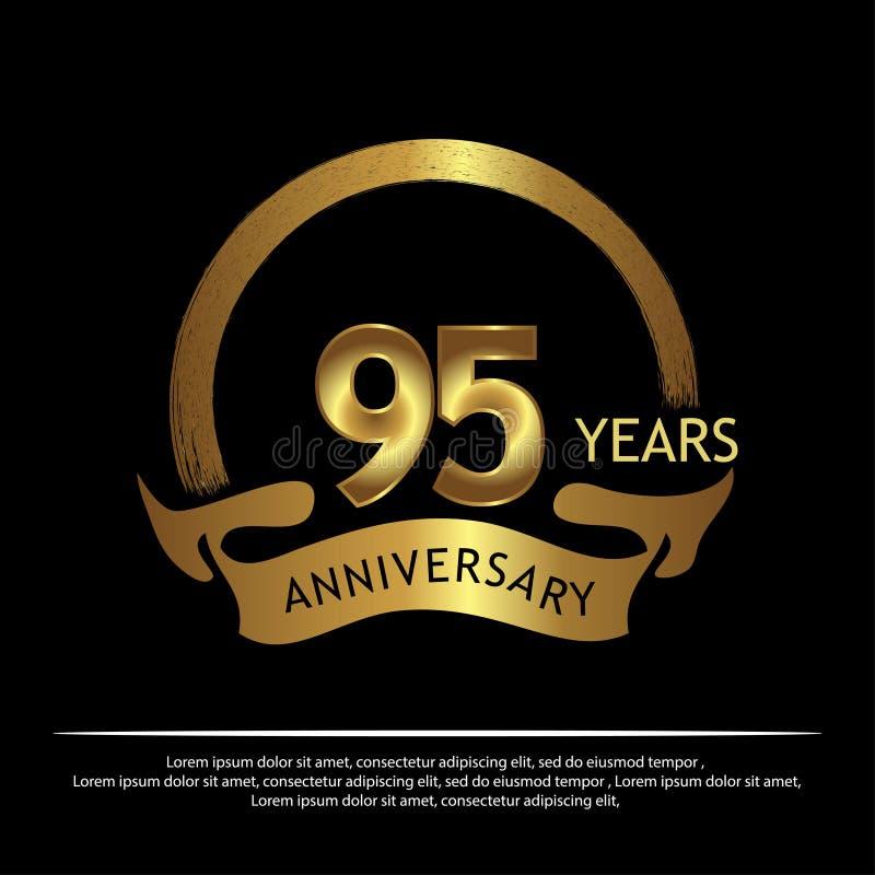 九十五年金黄的周年 周年网的,比赛,创造性的海报,小册子,传单,飞行物,magazin模板设计 库存例证