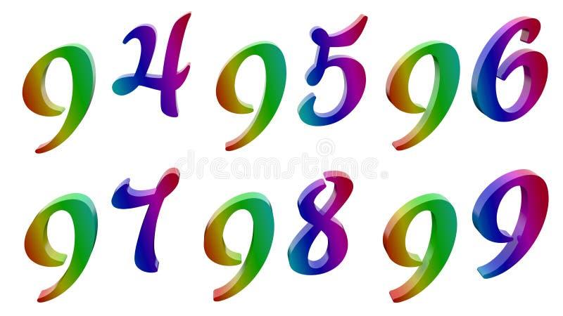 九十四,九十五,九十六,九十七,九十八,九十九, 94, 95, 96, 97, 98,被回报的99个书法3D 皇族释放例证