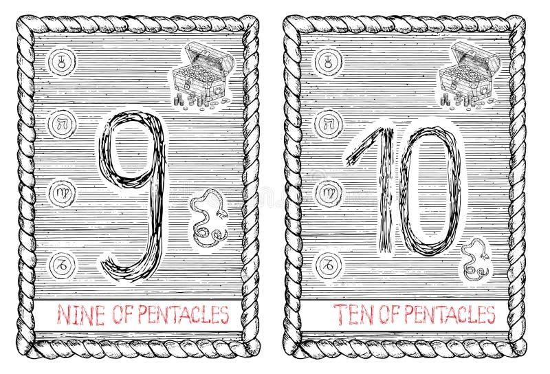 九和十倍五芒星形 占卜用的纸牌 皇族释放例证