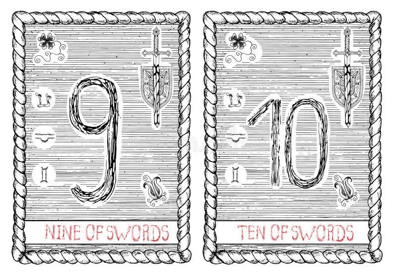 九和十倍剑 占卜用的纸牌 库存例证