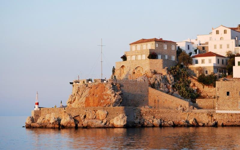 九头蛇海岛,黄昏的希腊 库存照片