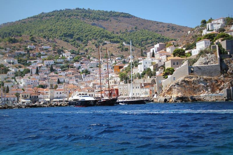 九头蛇海岛Saronic海湾希腊风景  库存照片