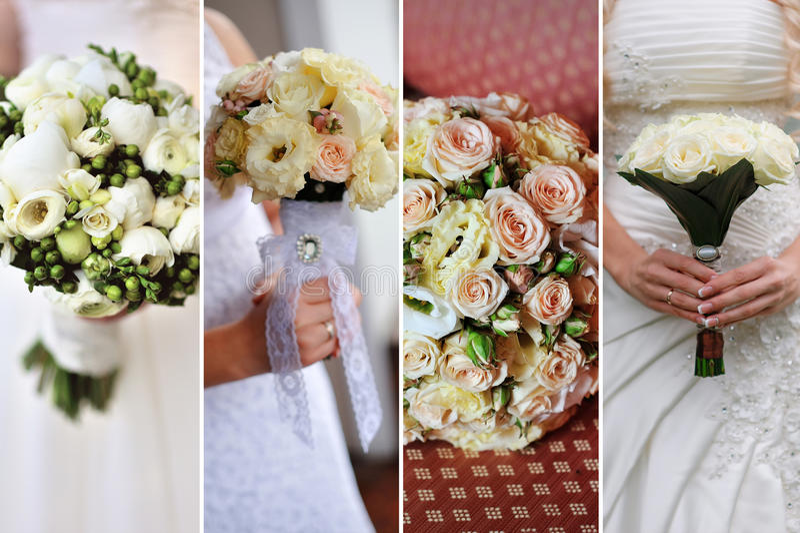九张婚姻的照片拼贴画与花束的 免版税库存照片