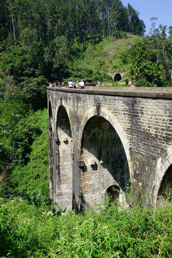 九曲拱桥梁在埃拉,斯里兰卡 免版税图库摄影