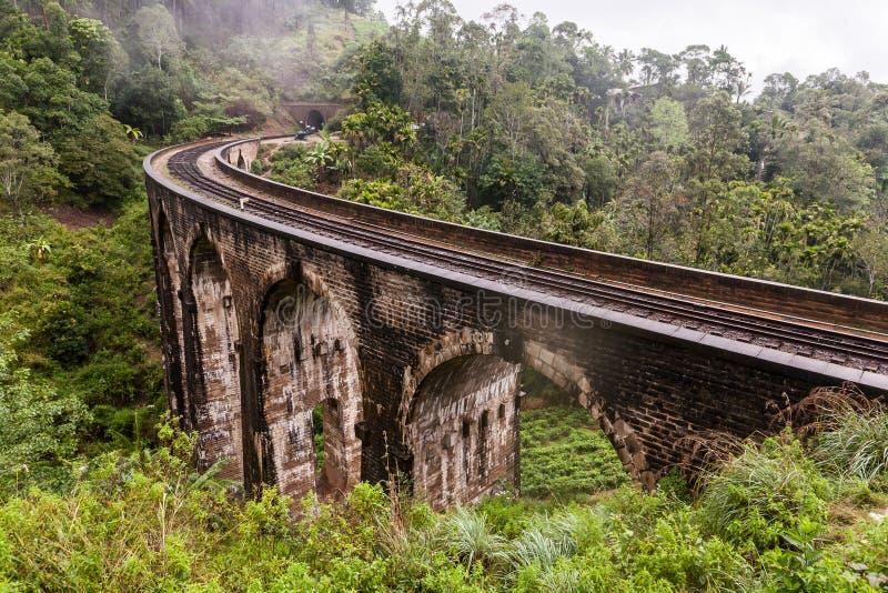 九曲拱桥梁Demodara在埃拉,斯里兰卡 库存照片