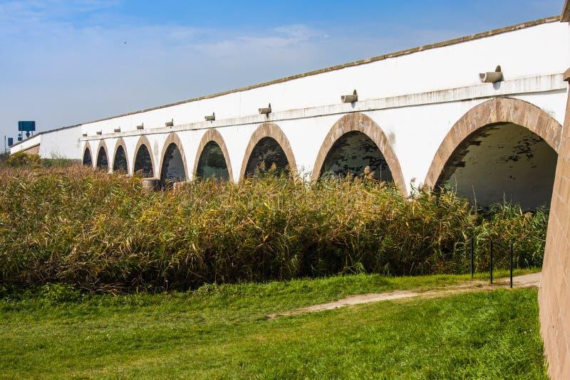 九被钻孔的桥梁Hortobagy国家公园匈牙利 库存图片