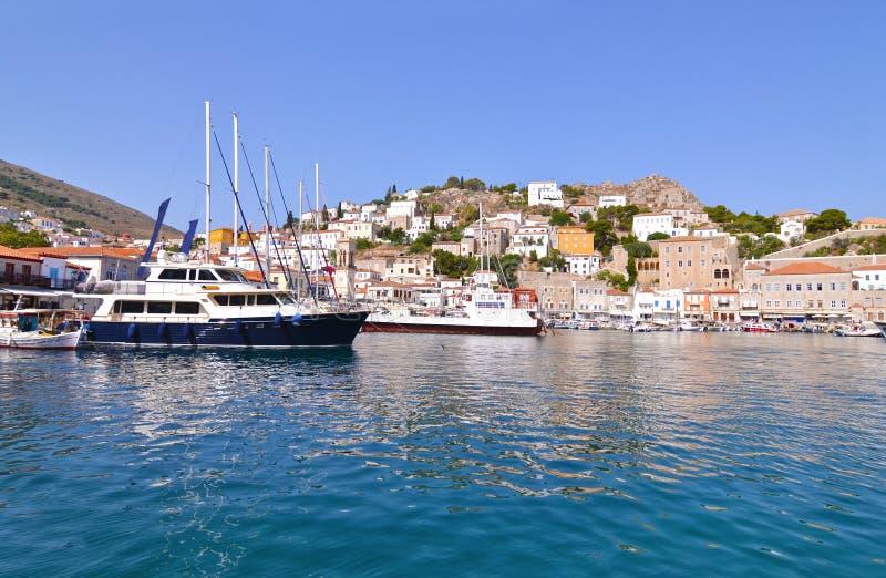 九头蛇口岸Saronic海湾希腊风景  免版税图库摄影