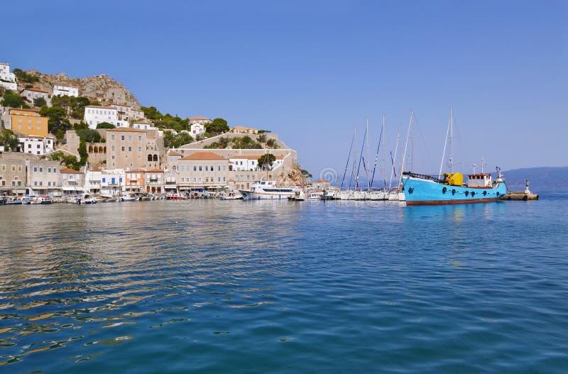 九头蛇海岛希腊口岸  免版税图库摄影