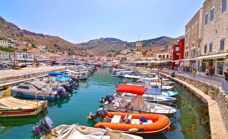 九头蛇海岛Saronic海湾希腊风景  免版税图库摄影