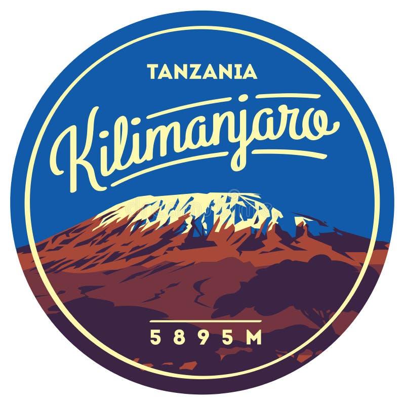 乞力马扎罗山在非洲,坦桑尼亚室外冒险徽章 在地球例证的最高的火山 向量例证