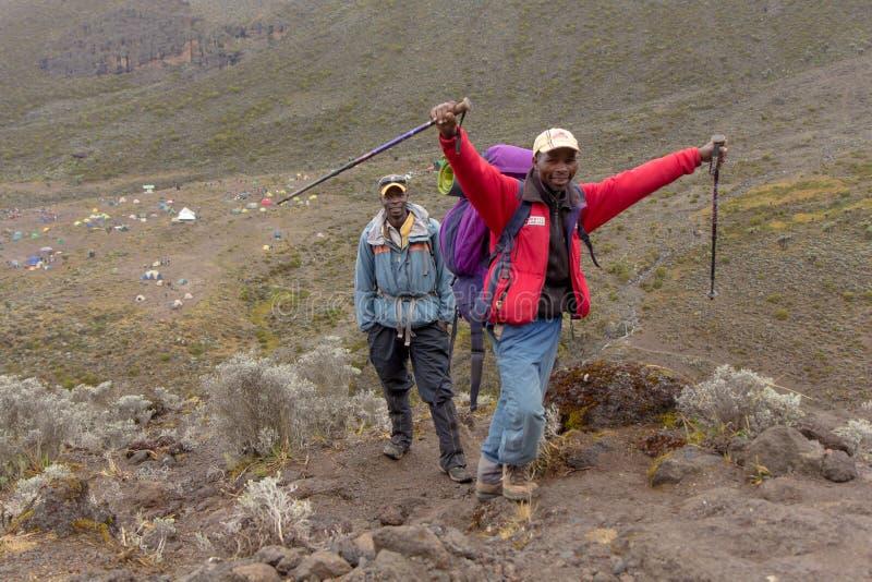 2014 02乞力马扎罗,坦桑尼亚:在山的Machame路线 4天 图库摄影