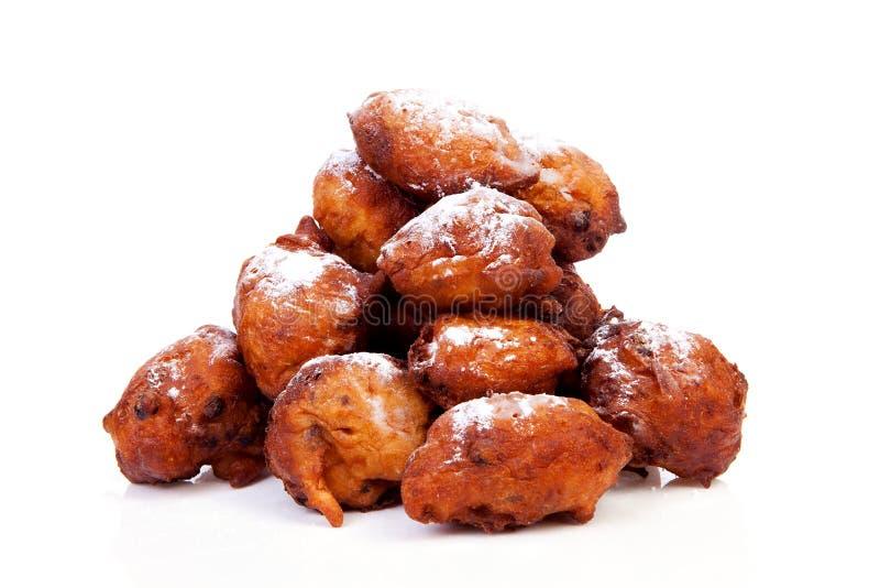 也作为已知的多福饼荷兰语oliebollen堆 免版税库存照片