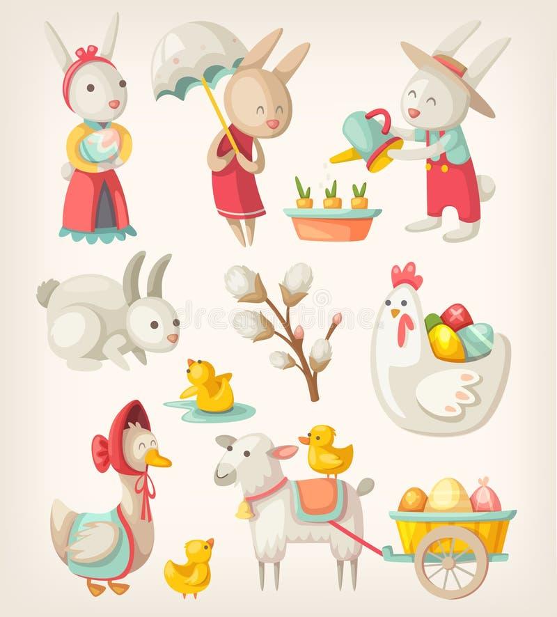 也动物是兔宝宝能小鸡corel复活节eps文件格式徒手画的图象节假日羊羔表示三到使用的使用 皇族释放例证