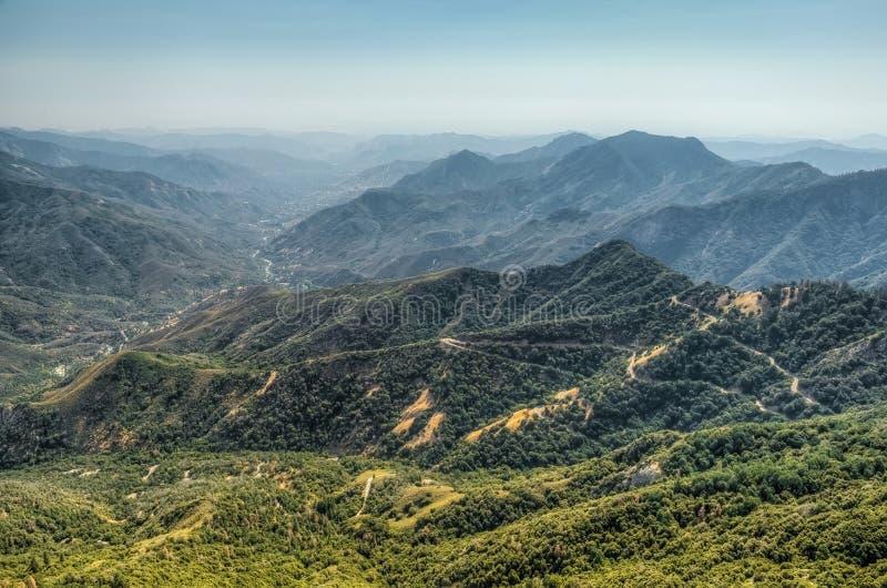 也区加利福尼亚峡谷圆顶森林查找了巨型花岗岩国王大莫罗国家公园岩石美国加州红杉视图 免版税库存照片