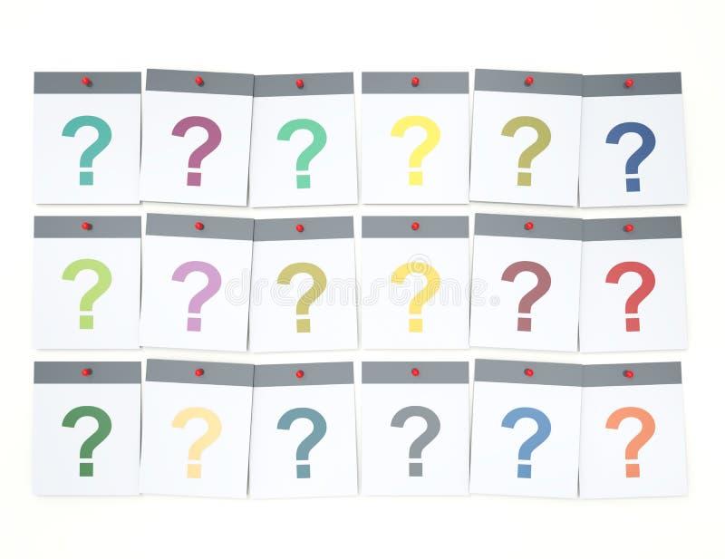 也是许多问题 堆与问题的五颜六色的纸笔记 皇族释放例证