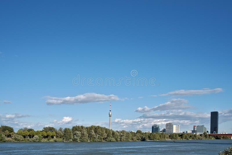 维也纳多瑙河全景 库存图片