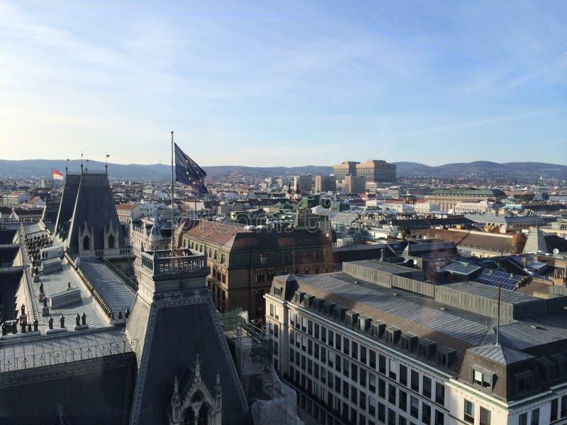 维也纳欧盟在House市长的上下垂 免版税库存图片