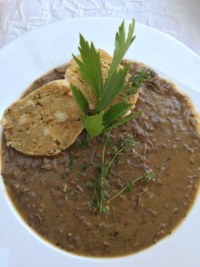维也纳汤叫Beuschel,用小牛肉lungsภ¡做的蔬菜炖肉他 免版税库存图片