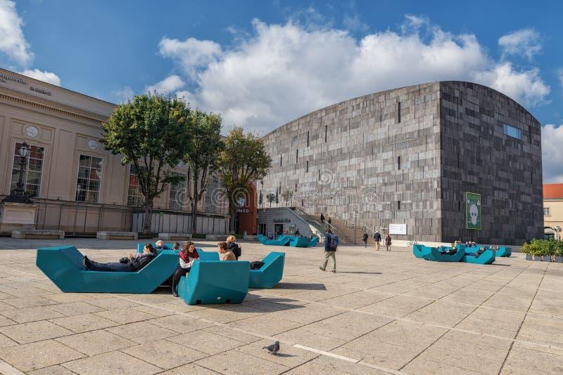 维也纳,奥地利- 2016年10月07日:MuseumsQuartier和现代艺术博物馆在维也纳,奥地利 免版税库存图片
