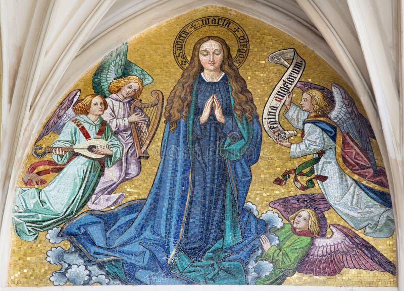 维也纳-圣母玛丽亚马赛克从哥特式教会玛丽亚上午Gestade主要门户的  图库摄影