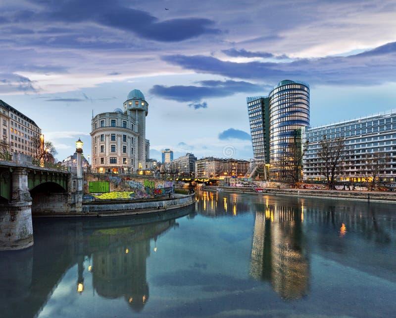 维也纳-奥地利的多瑙河运河 免版税库存图片