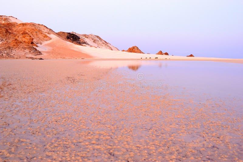 也门。 索科特拉岛。 Detwah盐水湖 免版税库存图片