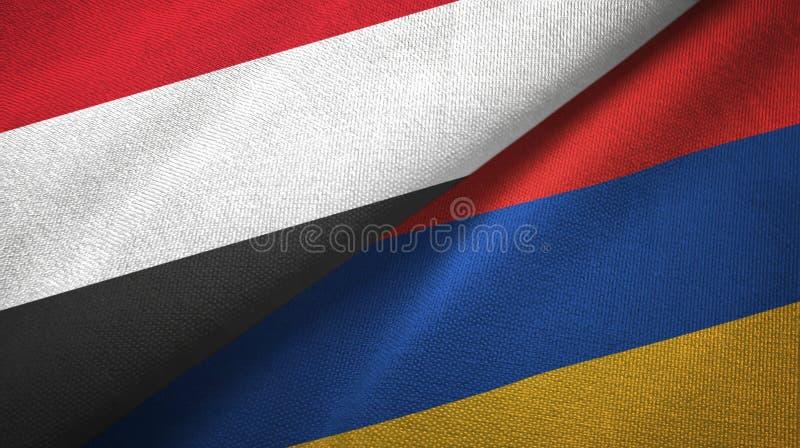 也门和亚美尼亚两旗子纺织品布料,织品纹理 向量例证