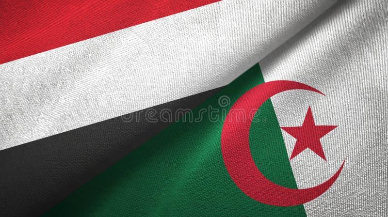也门和阿尔及利亚两旗子纺织品布料,织品纹理 向量例证
