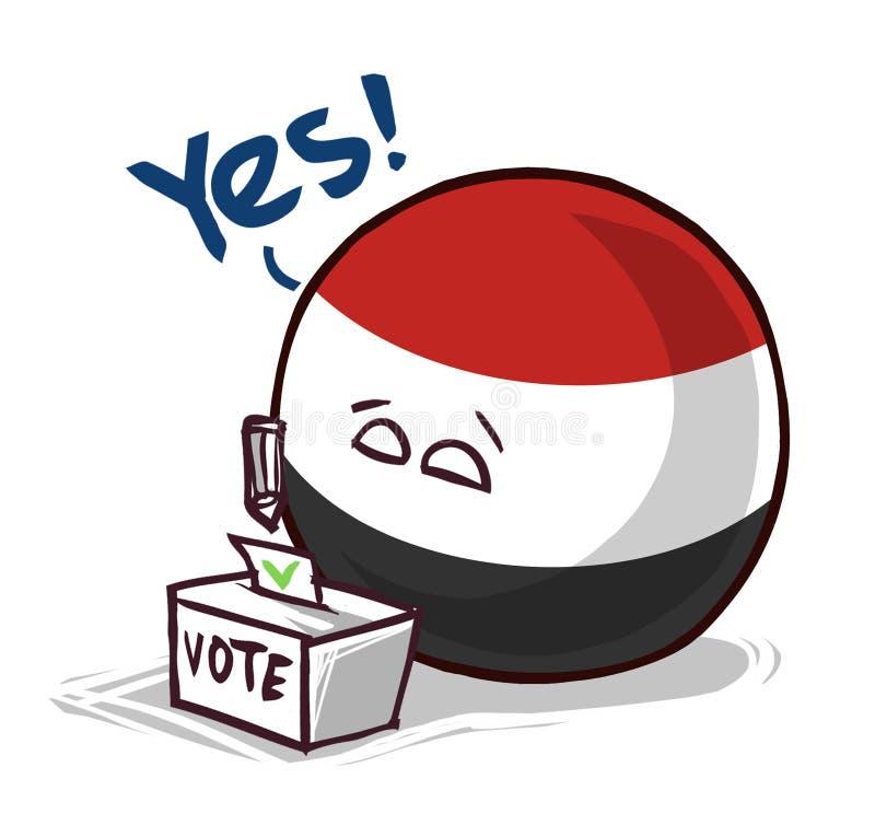也门投赞成票国家的球 库存例证