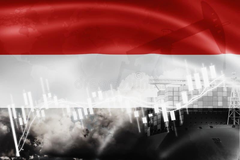 也门旗子、股票市场、交换经济和贸易,石油生产,在出口的集装箱船和进口业和后勤学 库存图片