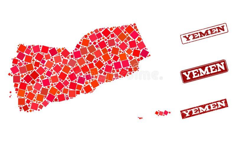也门的军用镶嵌地图和困厄学校封印构成 库存例证
