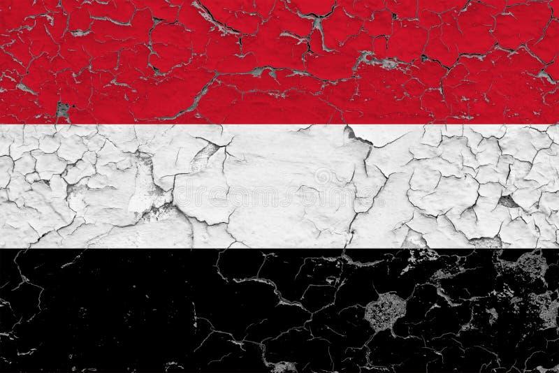 也门的旗子在破裂的肮脏的墙壁上绘了 葡萄酒样式表面上的全国样式 向量例证