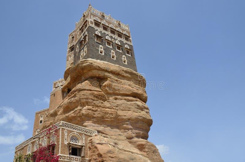 也门,阿訇的宫殿旱谷的Dhar在Sana'a 库存图片