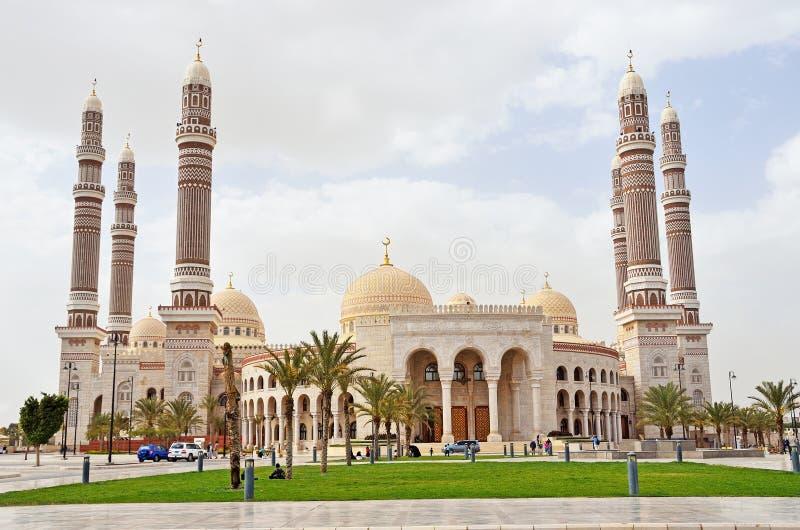 也门, Sana'a :Al萨利赫清真寺 免版税库存照片