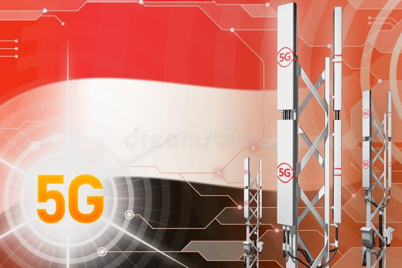 也门5G工业例证、大多孔的网络帆柱或者塔在高科技背景与旗子- 3D例证 库存例证