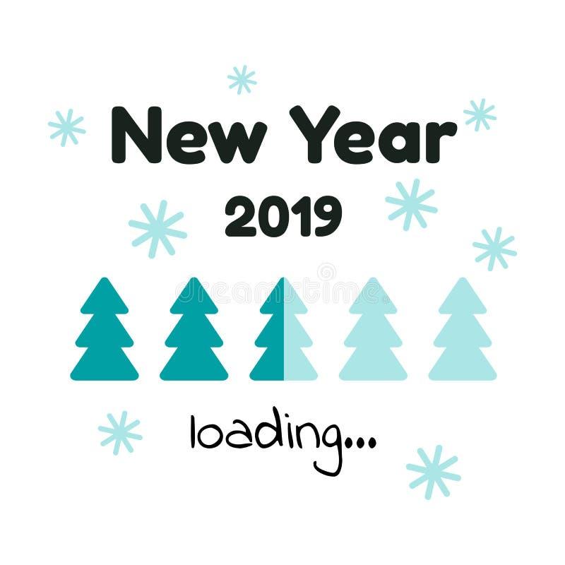 也corel凹道例证向量 下载 新年2019年 蓝色圣诞节tre 皇族释放例证