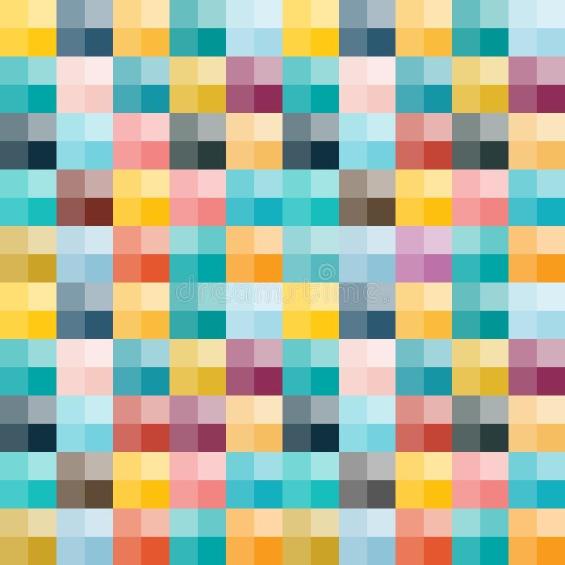 也corel凹道例证向量 与五颜六色的正方形的无缝的背景 库存例证