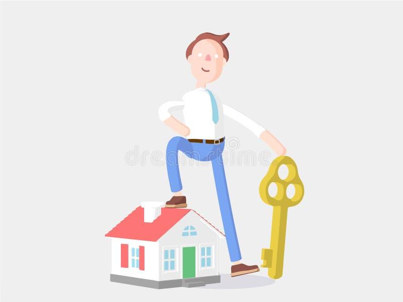也corel凹道例证向量 与房子和钥匙的商人吉米 库存例证