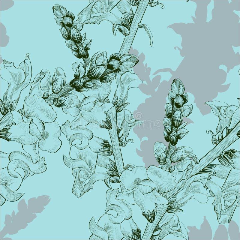 也corel凹道例证向量 与花和芽的一个分支 无缝的模式 金鱼草属 向量例证