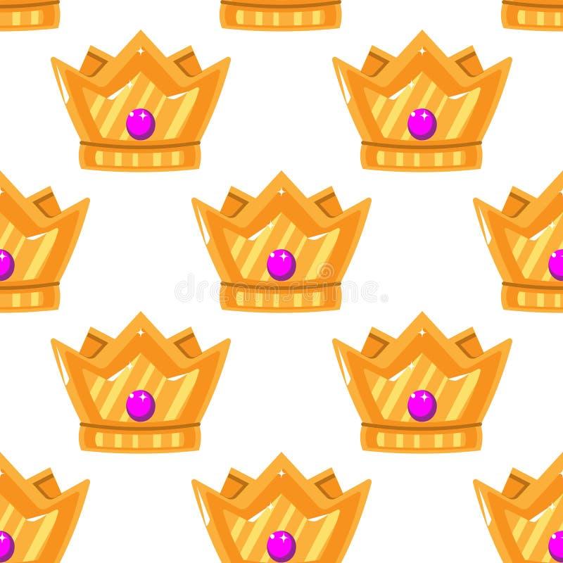 也corel凹道例证向量 冠的无缝的样式 有宝石的金冠 艺术设计动画片 向量例证
