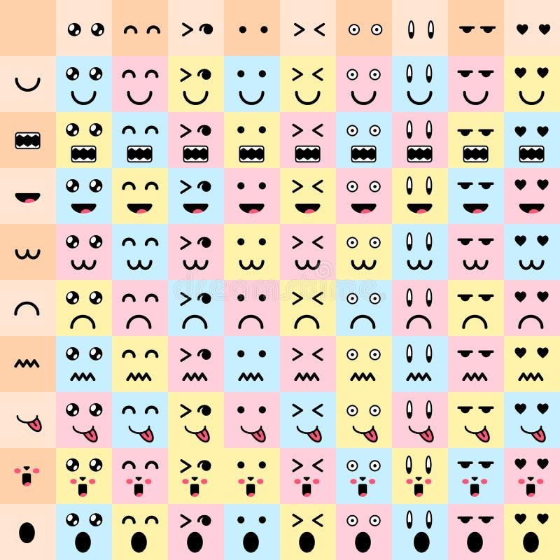 也corel凹道例证向量 大集合逗人喜爱的乱画妖怪嘴和眼睛 向量例证